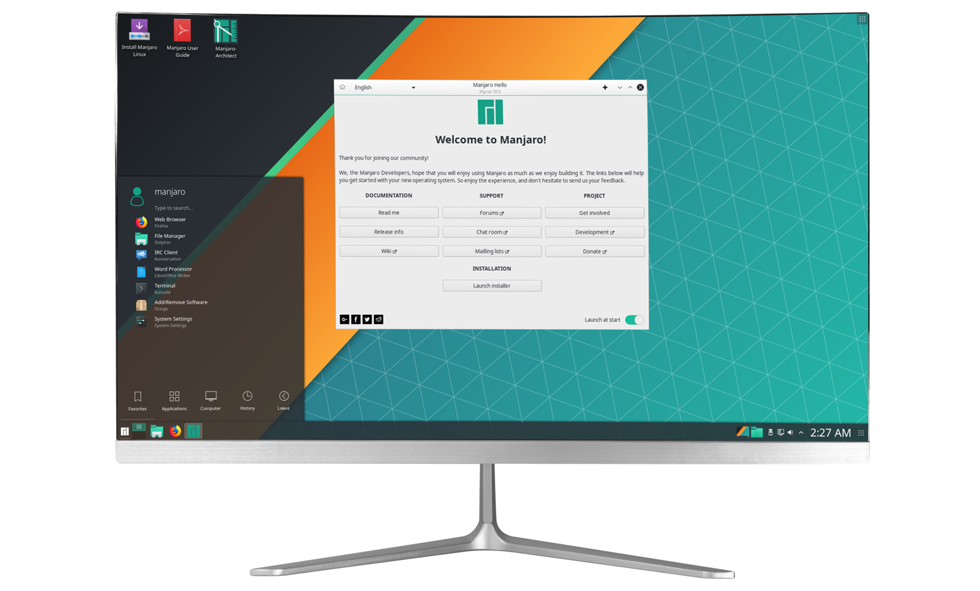 "Manjaro AIO  23,6"" Slim Bezel FHD Curved pc"
